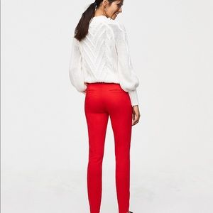 Loft Red Skinny Ankle Length pants